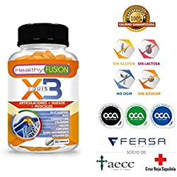 Potente Cúrcuma Orgánica + Colágeno + Condroitina + Glucosamina - Elimina el Dolor en Músculos, Articulaciones y Huesos - Potente Antiinflamatorio - Acción Analgésica - 90 caps. de liberación continua