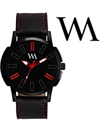 Watch Me Black Dial Black Leather Strap Watch For Men And Boys AWC-003