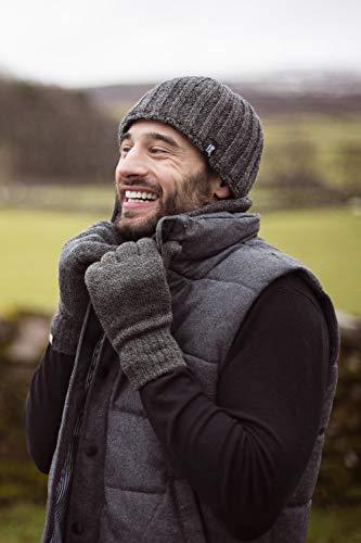 HEAT HOLDERS – Herren Thermische Winter-Vlies-Kabel Wollmütze, Nackenwärmer und Handschuhe gesetzt (L/XL, Schwarz) - 6