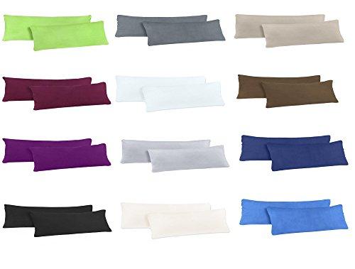 Doppelpack Jersey Kissenbezüge für Seitenschläferkissen mit YKK Reißverschluss 100% Baumwolle in viele Farben - 2er Pack Jersey Kissenbezüge 40x145 cm - Silber