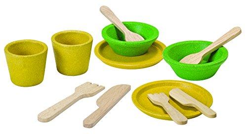 Plan Toys 3605 Essgeschirr Set 12-TLG. für Kinderküche Holz