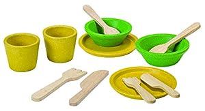 PlanToys- Platos y Cubiertos, Utensilios de Cocina de Juguete (3605)