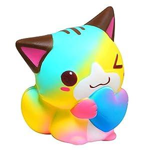 beautijiam Slow Rising Spielzeug, Cartoon Herz Katze Squeeze Spielzeug Dekompression Spielzeug Stress Relief Geschenk für Kinder Erwachsene