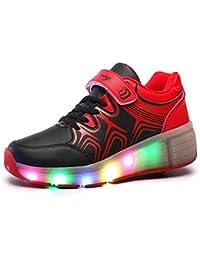SGoodshoes LED Zapatillas Deporte Patín Ruedas Luminoso Formadores Flying Niños LED con un adulto Rueda Intermitente Zapatos
