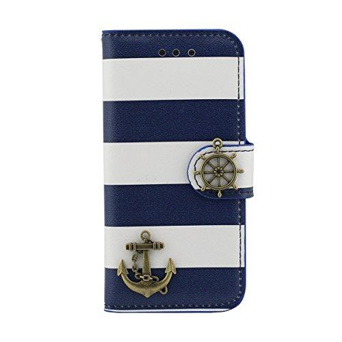 Multi Function Custodia Cover Pelle Borsa per iPhone 5 5S SE, Folio Flip Case, Moda Banda Aspetto Serie, Titolare della Carta Supporto Caratteristica Blu scuro