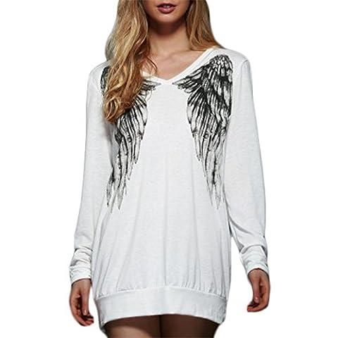 Damen Lässig V-Ausschnitt Lange Ärmel T-shirt Angel Flügel-Druck Pullover Oberteile (S, Weiß)