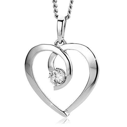 Orovi Pendente Donna cuore con Zircone taglio brillante Oro Bianco 9 kt 375