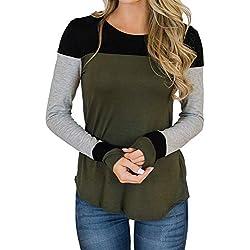 SHOBDW Sudadera para Mujer de la Moda Cuello Redondo Color Block Patchwork Otoño Invierno Tops de Manga Larga Camiseta Daily Blouse(Verde,L)
