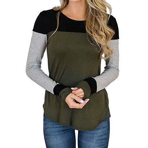 Briskorry Damen Beiläufig Oberteile Mode O-Ausschnitt Patchwork Lange Ärmel T-Shirt Pullover Sweatshirts Herbst Oberteile