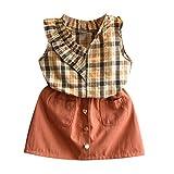 JUTOO 2 Stücke Set Kleinkind Kinder Baby Mädchen Outfits Kleidung Plaid Weste Shirt Tops + Kurzer Rock Set (Braun,7/90)