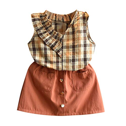 LIGESAY Kleinkind Kinder Baby Mädchen Kleidung Set Outfits Kleidung Plaid Weste Shirt Tops + Short Skirt Set Baby Born Blumendruck Kostüme Babymode Chiffon Kitty Punkte