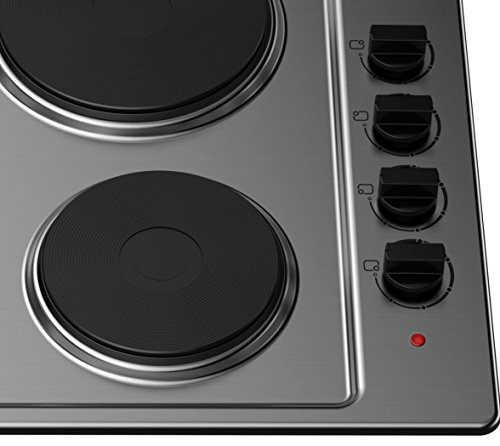 41LD1%2BfaRLL - Cookology 60cm Solid Plate Hob, Hotplate Cooker, 4 Zone, Electric, Built-in, 600mm (Stainless Steel, 60cm)