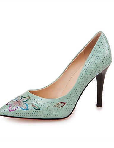 WSS 2016 Chaussures Femme-Bureau & Travail / Décontracté-Bleu / Blanc-Talon Aiguille-Talons / Bout Pointu-Chaussures à Talons-Cuir white-us8 / eu39 / uk6 / cn39