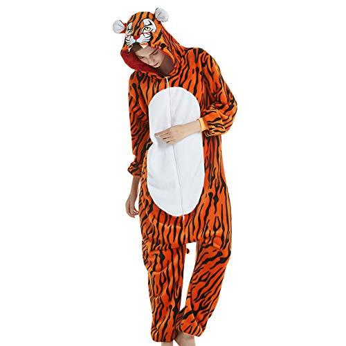 LPATTERN Erwachsene Damen/Herren Cartoon Kostüm- Jumpsuit Overall Schlafanzug Pyjamas Einteiler, Orange und Schwarz Tiger, L für Körpergröße 166-172CM