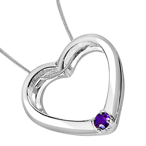 Surat Diamonds Heart Shaped Purple Amethyst & Sterling Silver Pendant with Silver Finished Chain for Girls (SDP331)