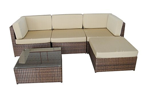 Alexander Morgan AM705 Garden Rattan Furniture Lounge Set Corner Sofa Table    Brown Weave
