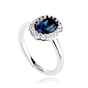 18ct White Gold Finish Ring With Swarovski Sapphire Crystal (L)