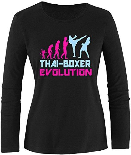 EZYshirt® Thai Boxing Evolution Damen Longsleeve Schwarz/Pink/Hellbl