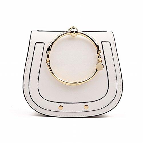 Weibliche Schulter messenger Kerry armband nile metall Große Kreis handtasche sattel tasche Weiß