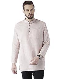 Vivids India Men's Cotton Linen White & Red Stripes Kurta - G-212