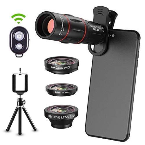 6 in 1 Universal Phone Camera Lens Kit Clip-On Smartphone 18X Teleobjektiv, Weitwinkelobjektiv, Makroobjektiv, Fischaugenobjektiv, Stativ, Fernauslöser für iPhone Samsung und die meisten Smartphones