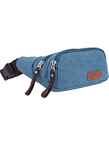 Menschwear Vintage Leinwand Gürteltasche Outdoor Sport Hüfttasche Doggy Tasche Sportstasche Gürtellinie Waist Tasche Hip Pack für Wandern Laufen Radfahren Camping Reise Klettern Blau (Vintage Birkin Bag)