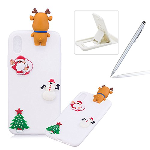 Coque iPhone X Silicone, Herzzer Série de Noël Style Design Mignon 3D Étui Housse de Protection Soft Doux TPU Gel Backcover Ultra Mince Léger Flexible Téléphone Portable pour Apple iPhone X - Blanc