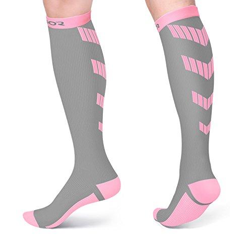 Sport Kompression Socken für Männer und Damen, 10-20 mmHg Graduierte Strümpfe für Laufen, Reisen, Athletic, Schwangerschaft, Krankenschwestern, Ödeme, Zirkulation und Recovery (Grau/Rosa, S/M)