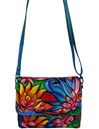 """EL Mio® Beautiful Soft And Pure Genuine Leather """"Magical Lotus"""" Themed Hand Painted Women Sling Crossbody Bag..."""