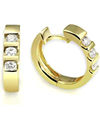 goldmaid Gelb Gold 585 Memoire Creolen 6 Diamanten 0,40 ct., Me O538GG Ohrringe Brillanten Schmuck