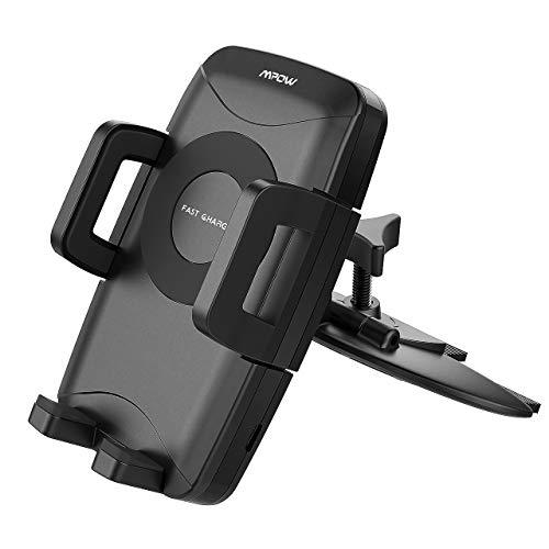 Mpow Qi Wireless Charger, CD Schlitz Qi Schnell Ladende Drahtlose Handyhalterung Auto,CD-Slot KFZ-Halterung 10W für Galaxy S9 S8 S8plus, 7.5W handyhalter für Auto für iPhone,5W für alle Qi Handys