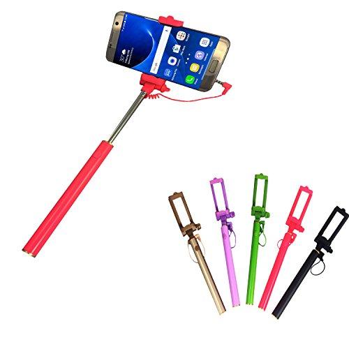 Selfie Stick | für MEDION LIFE E5020 | mit integriertem Selbstauslöser | ohne Akku | Mini und Zeitlos | Selfies 1 Pink