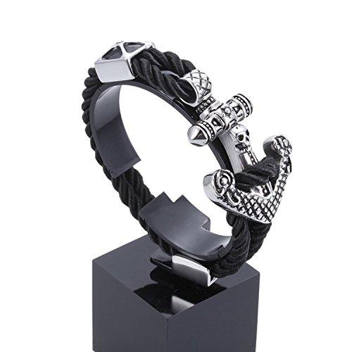 Preisvergleich Produktbild LDUDU® Herren Armband mit Edelstahl-Anker gestricktes Seil Armbänder Armreif Armkette Geschenk für Valentinstag, Geburtstag, Schwarz