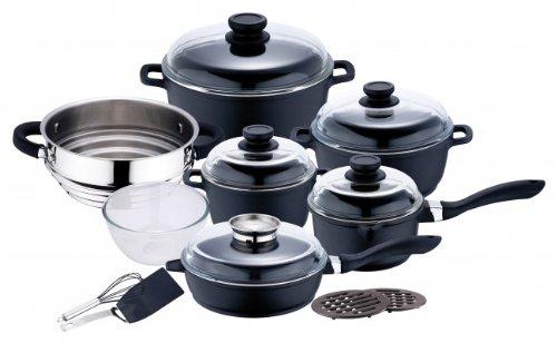 16-tlg. Kochtopf SET - Topfset - Induktion Topf & Deckel - Glasdeckel - Kochgeschirr - Kasserolle - Kochset - Kochtopfset - Pfanne - Schneebesen - Pfannenwender - Glasschüssel