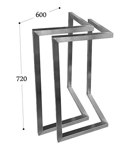CHYRKA V-Tischkufe Edelstahl 201 30x30 Tischgestell Rahmentisch Kufengestell Tischuntergestell (720x600 mm - 1 Paar)