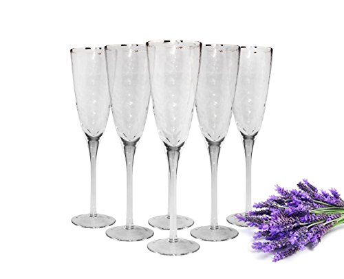Sendez Verres à champagne en faite main Lot de 6 verres à champagne avec bord argenté Champagne verre Prosecco