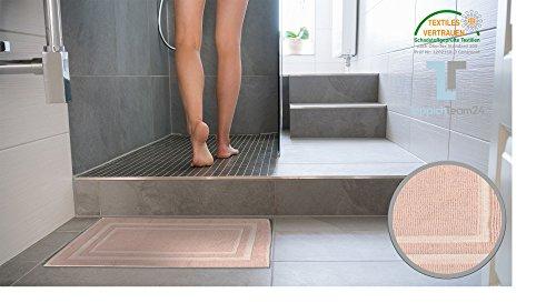 keymura Alfombrilla de baño en color rosa, diseño New York–100% algodón, baño, alfombra de baño, ducha Alfombrilla, 100 % algodón, Rosa, 60 x 100 cm