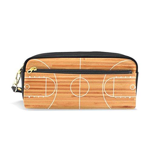 COOSUN Basketball Court Grundriss auf Parkett Hintergrund Portable PU-lederner Bleistift-Kasten-Schule-Feder-Beutel Stationär-Beutel-Kasten-große Kapazitäts-Verfassungs-Kosmetik-Tasche Groß Mehrfarb