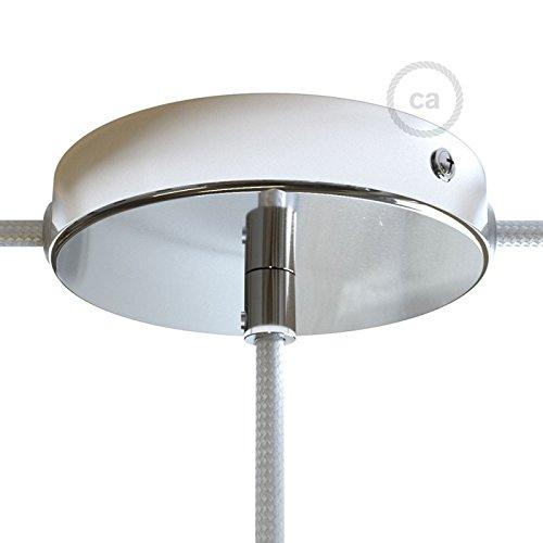 Lampenbaldachin Kit Chrom mit zentralem Ausgang und 2 seitlichen Ausgängen mit zylindrischer Zugentlastung, Befestigungszubehör