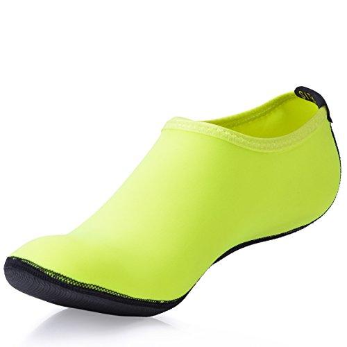 SITAILE Damen Herren Aquaschuhe Strandschuhe Sommer Schuhe Schwimmschuhe Surfschuhe,Grün,2XL,EU43-44 (Driving-mokassin Classic)