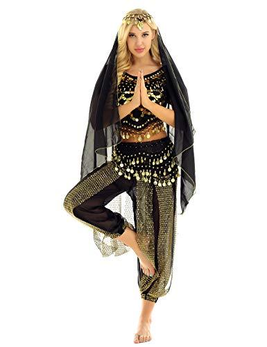 ranrann Traje de Danza del Vientre para Mujer Conjunto de Baile India Árabe Lentejuelas Vestido Danza del Oriental Disfraz de Fiesta Carnaval Actuación Negro One Size