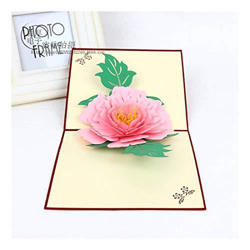 ZHOUBIN 2 fogli/set Carving And Hollowing Out 3D Cards/Greeting Cards/Regali di Natale Capodanno/Auguri di compleanno/Fiori fioriti, polvere