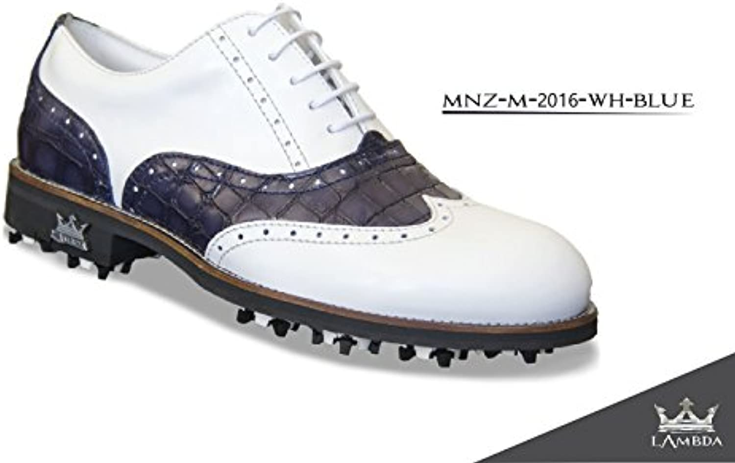 Lambda Golf Shoes Man Mod. Monza Kragen. White Blue Croco (42)