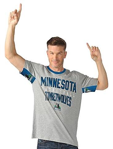 NBA Minnesota Timberwolves Men's Cut Back Short Sleeve Fashion Top, XX-Large, Gray/Blue