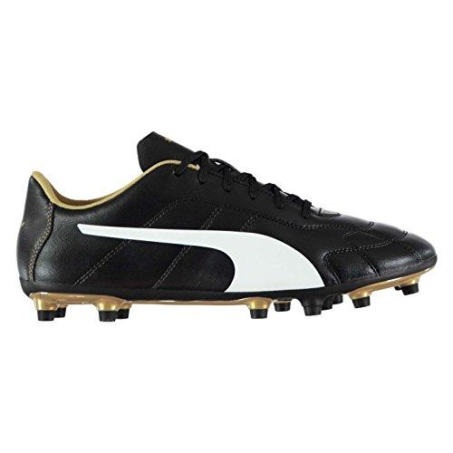 Puma Hommes Classique C Fg Chaussures De Football Sol Dur Cheville Rembourrée Noir/Blanc/Gold
