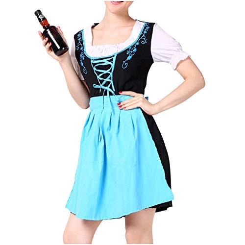 leider Maid Dress Damen Oktoberfest Kostüm Bayerische Kurzarm Trachtenkleid Mädchen Cosplay Bayerisches Dirndl Kleid Halloween Kostüm/Dienstmädchen Kostüm Blau Rot M,XL ()