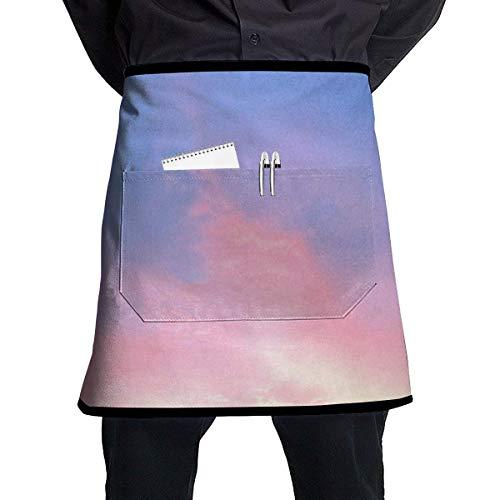 VAICR Kochschürze Küchenschürze,Blue Sky Dawn Adjustable Half Body Pocket Apron Bib Apron for Unisex Chef's Gifts Kitchen Decor,Extra Long Ties Women Men BBQ Baking Cooking Sky Blue Mens Tie