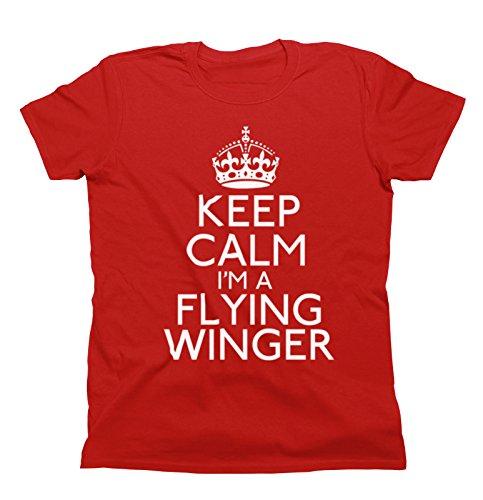 Unisex Fit TShirt Keep Calm Sports Wählen Sie Design Herren und Damen Christmas Gift Flying Winger (Rugby) Rot