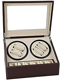 TC-GFR Bois automatique Rotation Remontoir, vitrine en cuir Boîte, Table Motor Box, 4 + 6 positions , brown