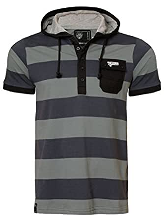 Men's Dissident 1X 2365 striped short sleeve hoody Cotton t-shirt top, Charcoal, Medium